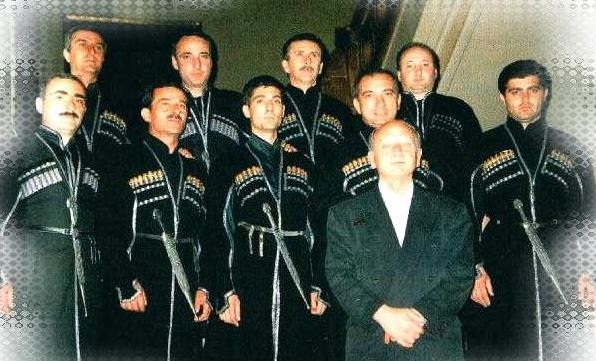 (Ensemble Tbilisi, with R.Gogolashvili, the director, in front.)